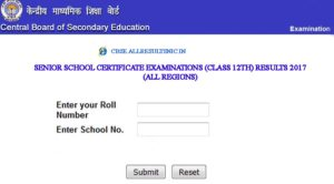 CBSE 12th Results 2017 Online Link