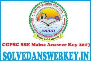 CGPSC SSE Mains Answer Key 2017 PDF