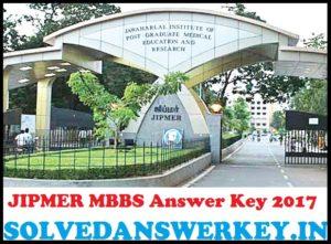 JIPMER MBBS Entrance Exam Answer Key 2017 PDF
