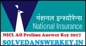 NICL AO Prelims Answer Key 2017 PDF Download
