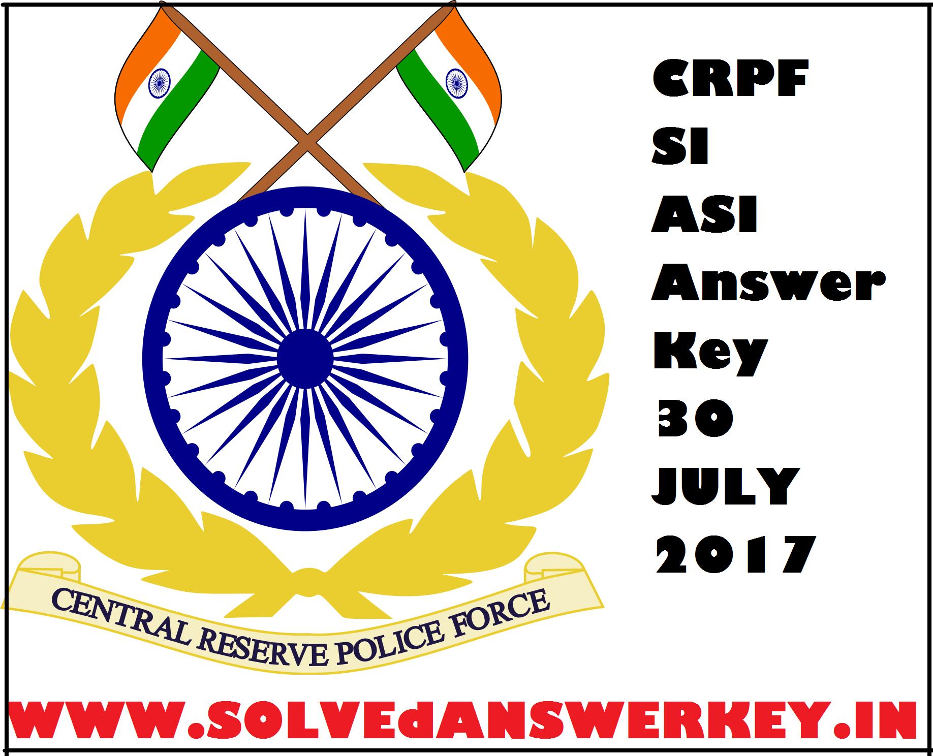 CRPF SI ASI Answer Key 2017 PDF Download