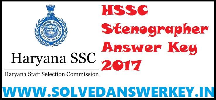 HSSC Stenographer Answer Key 2017 PDF