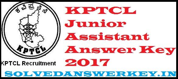 KPTCL Junior Assistant Answer Key 2017 PDF