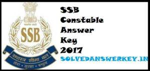 SSB Constable Answer Key 2017 PDF