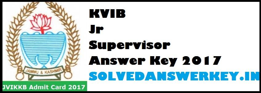 KVIB Jr Supervisor Answer Key 2017 PDF
