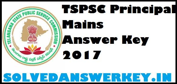 TSPSC Principal Mains Answer Key 2017 PDF