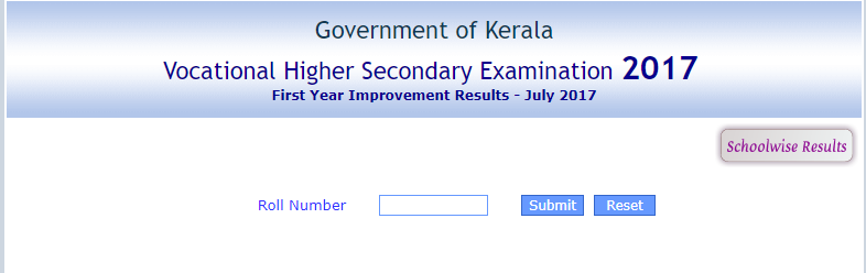 Kerala DHSE 11th Class Supplementary Exam Results 2017 PDF