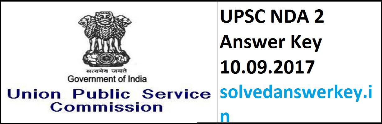 UPSC NDA 2 Answer Key 10.09.2017 PDF