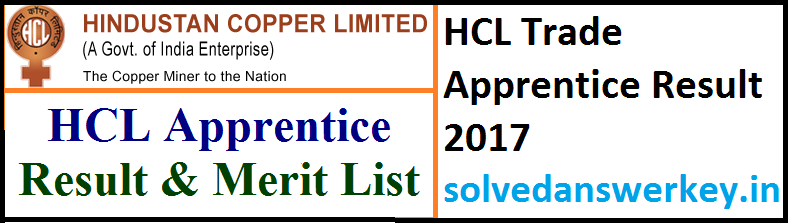 HCL Trade Apprentice Result 2017 PDF