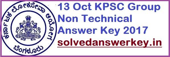 KPSC Group Non Technical Answer Key 2017 PDF