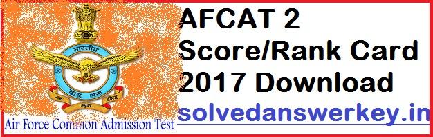 AFCAT 2 Score Rank Card 2017