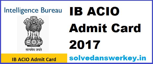 IB ACIO 2017 Admit Card