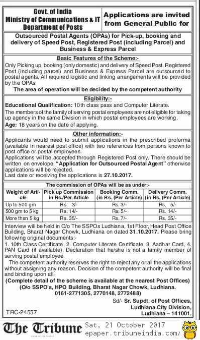 Post Office Ludhiana OPA Recruitment 2017 Notice