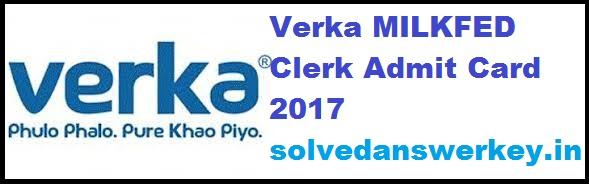Verka MILKFED Clerk Admit Card