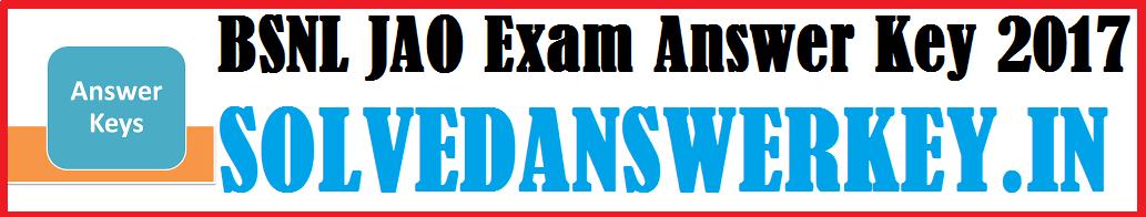 BSNL JAO Exam Answer Key 2017 PDF