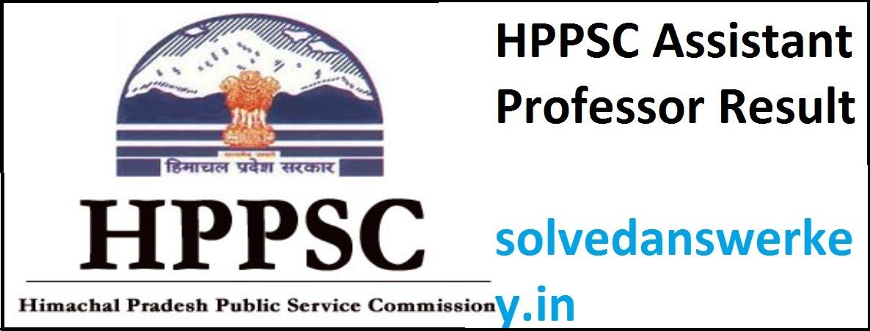 HPPSC Assistant Professor Examination Result 2019