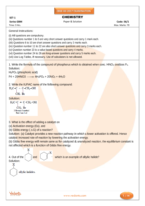 CBSE Board Class 12th Chemistry Old Question Paper