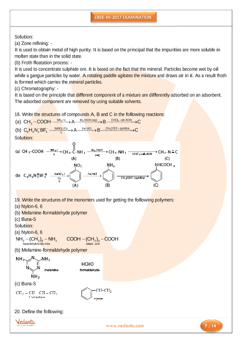 CBSE Class 12 Chemistry Old Ques Paper PDF