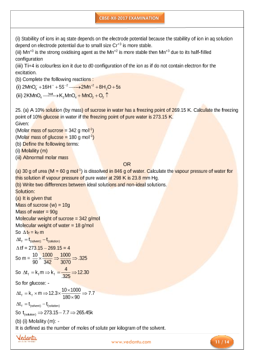 CBSE Class XII Chemistry Previous Papers