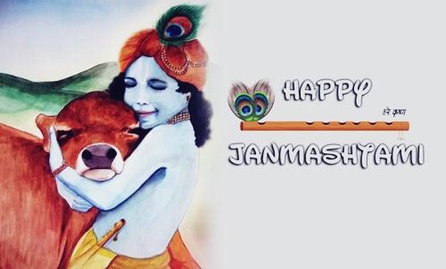 Happy Janmashtami of Krishna Greetings HD Wallpaper