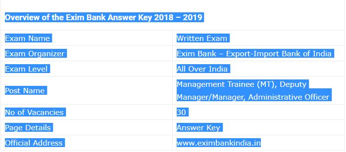 EXIM BANK Exam 2018