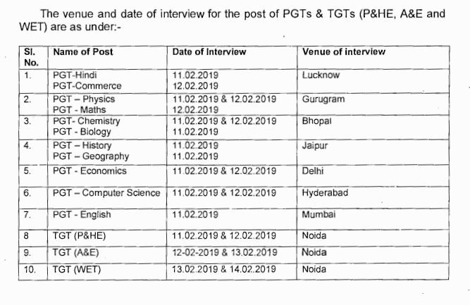 KVS PGT TGT Interview Schedule Notice
