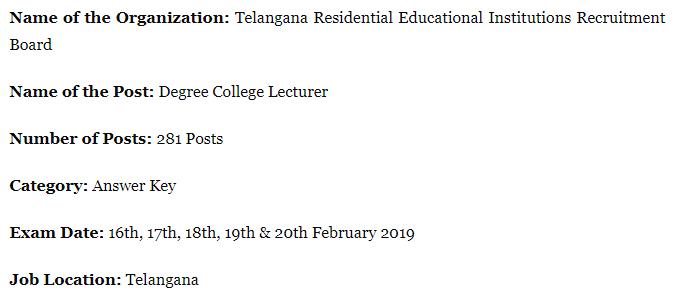 TREIRB Junior Lecturer Examination 2019