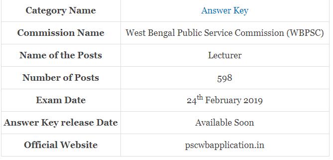 WBPSC Teacher Examination 2019