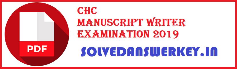 CHC Manuscript Writer Examination 2019