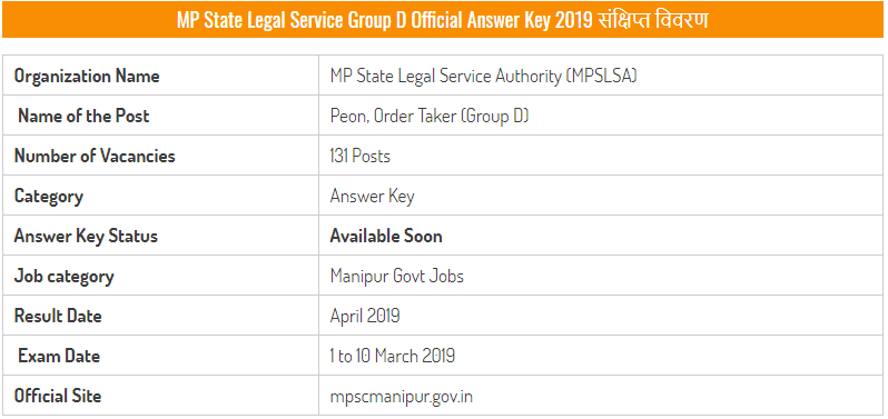 MP State Legal Service Group D Examination 2019