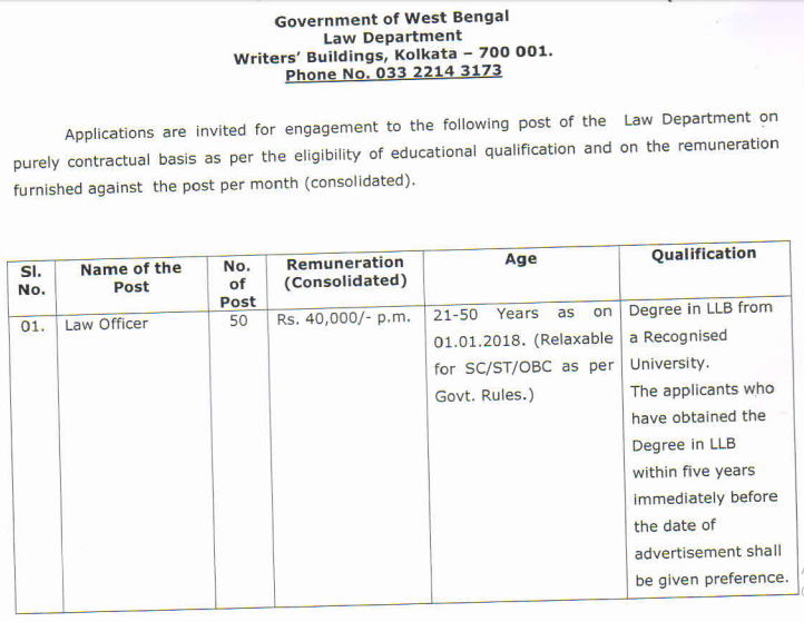 WBPSC Law Officer Examination 2019