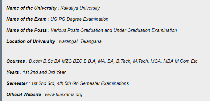 KU UG PG Degree Revaluation Examination Results 2019