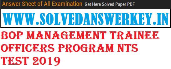 BOP Management Trainee Officers Program NTS Test 2019