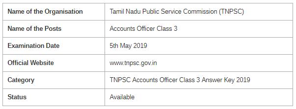 TNPSC Accounts Officer Class 3 Examination 2019