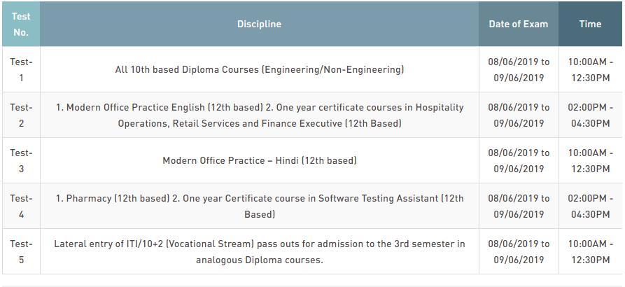 Delhi CET Polytechnic Entrance Examination 2019