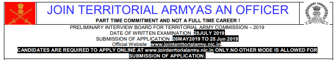 Territorial Army Officer Exam Result 2019