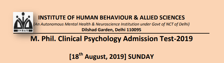 IHBAS M. Phil. Clinical Psychology Admission Test 2019
