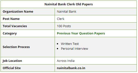 Nainital Bank Clerk SO PO Previous Year Papers PDF