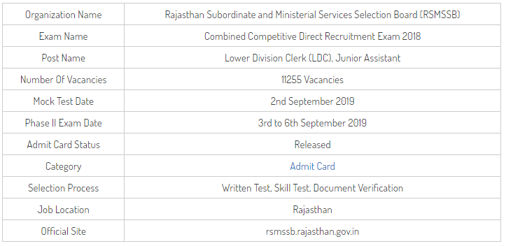 RSMSSB LDC Phase 2 Exam Hall Ticket 2019
