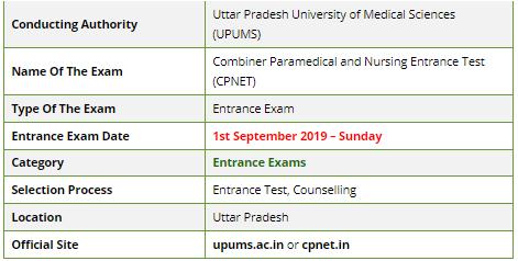 Combiner Paramedical and Nursing Entrance Test 2019