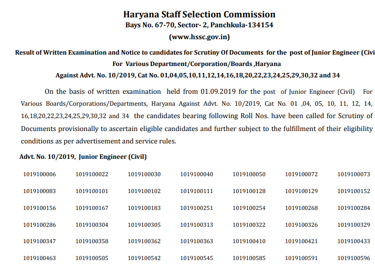 Haryana HSSC Junior Engineer Exam Result 2019